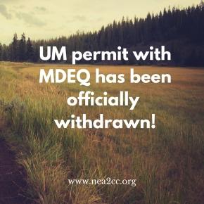 Update on UM Permit toMDEQ